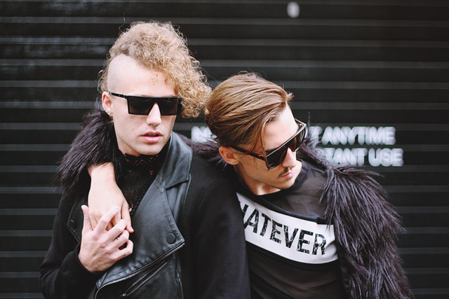 Gay couple leather jackets